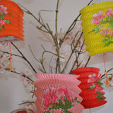 small coloured Chinese printed lanterns