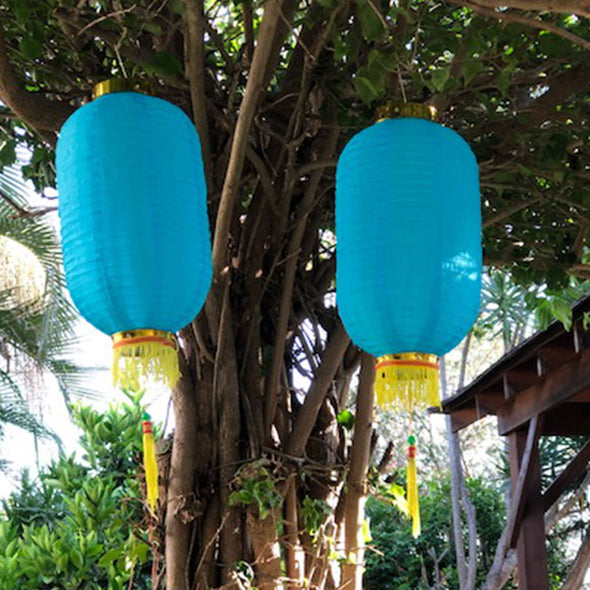 Medium Chinese Cylinder Lanterns blue 2pack