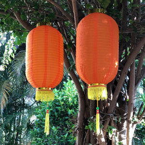 Medium Chinese Cylinder Lanterns golden orange 2pack