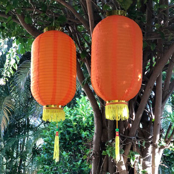 Medium Chinese Cylinder Lanterns orange 2pack