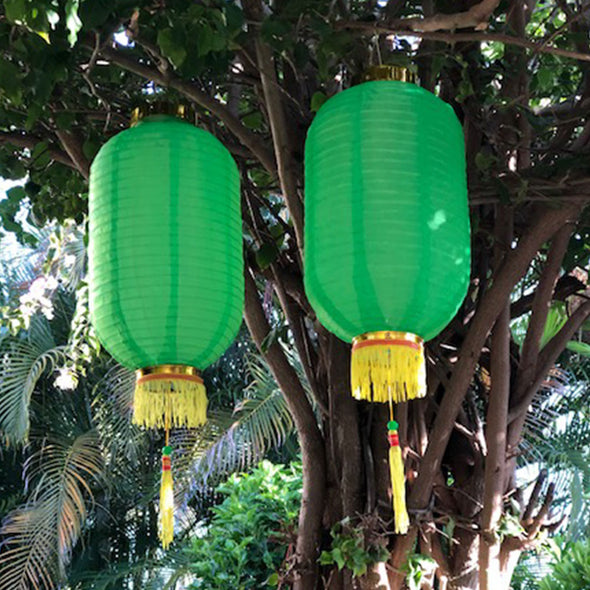 Medium Chinese Cylinder Lanterns green 2pack