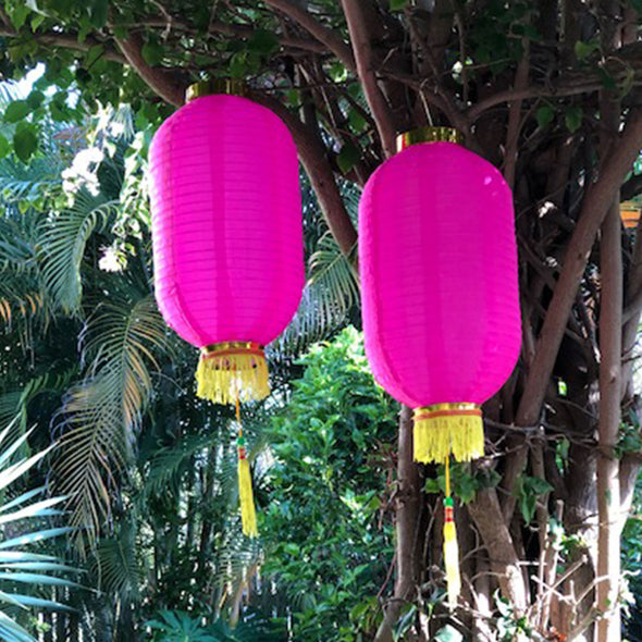 Medium Chinese Cylinder Lanterns pink 2pack