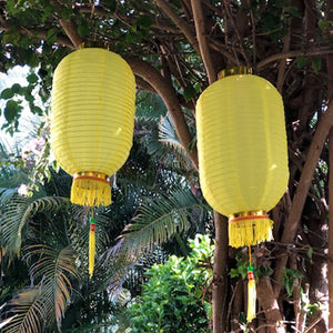 Medium Chinese Cylinder Lanterns yellow 2pack
