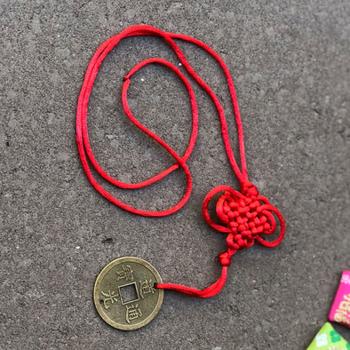 Lucky Red Knot Coin Necklace