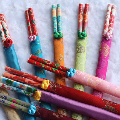 mixed colours Chinese chopsticks in silk bags