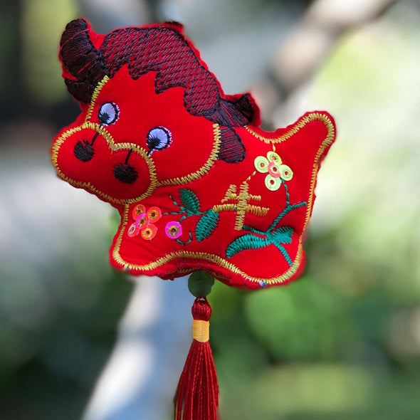 Red Velvet Cow - Chinese Hanging Decoration 2021 year of the cow