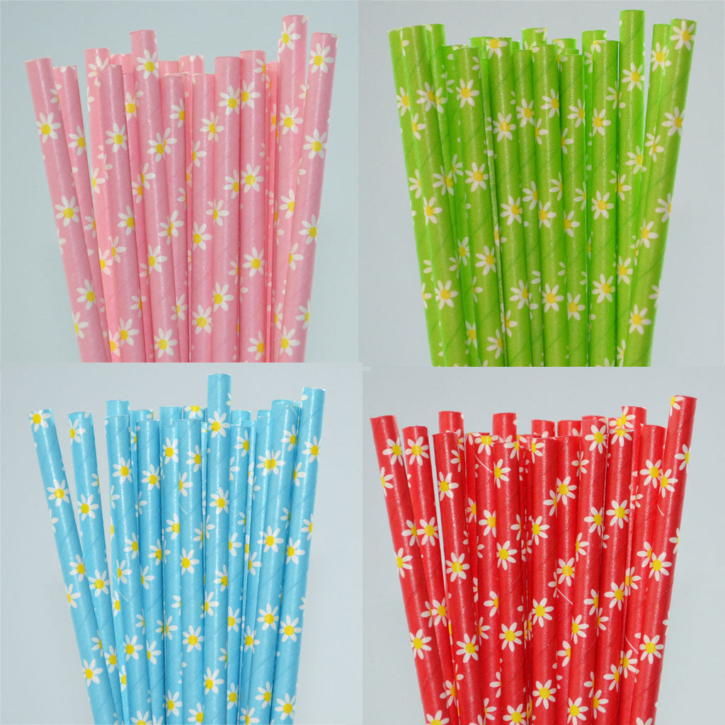 SALE Daisy Flower Paper Straw - Pack of 25