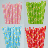 Daisy Flower Paper Straw - Pack of 25