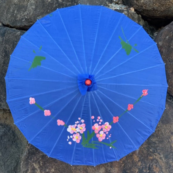 dark blue Chinese blossoms parasol
