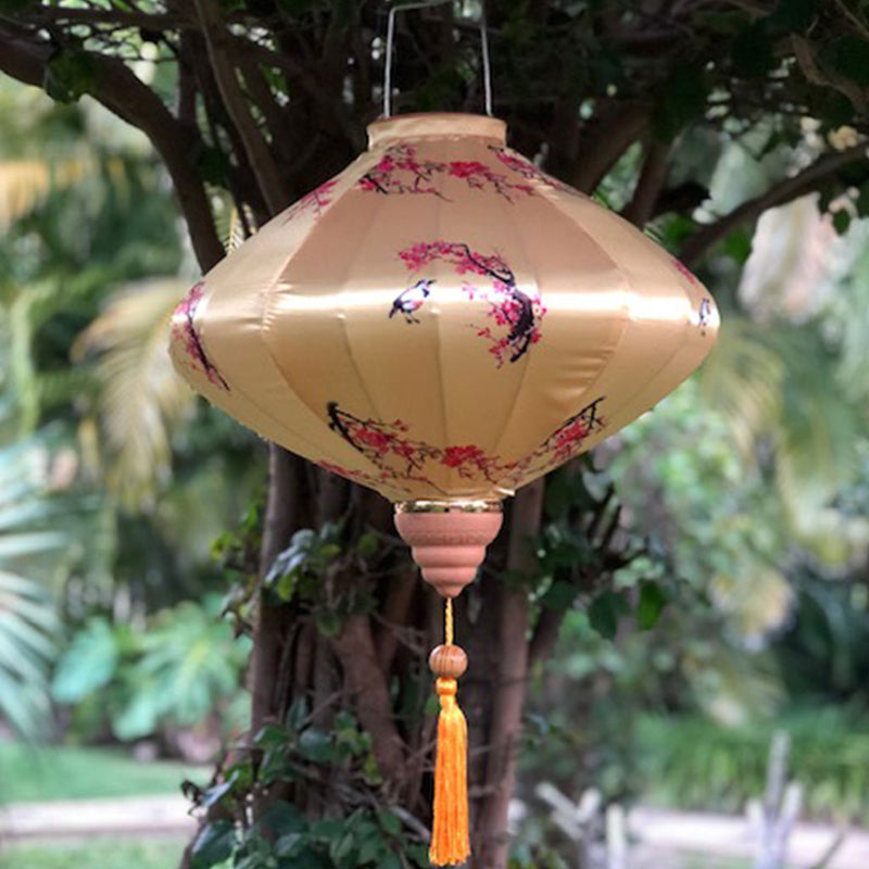 Diamond gold silk lantern - pink cherry blossoms and birds