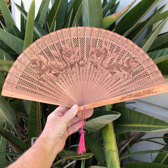 sandalwood Chinese dragon fan
