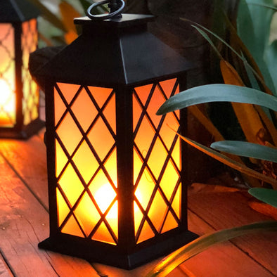 flame led lantern (style 1 diamond lattice)