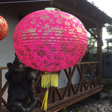 Pink Giant Chinese Gold Peony Flower Lanterns (50cm) - pack 2 nylon lanterns