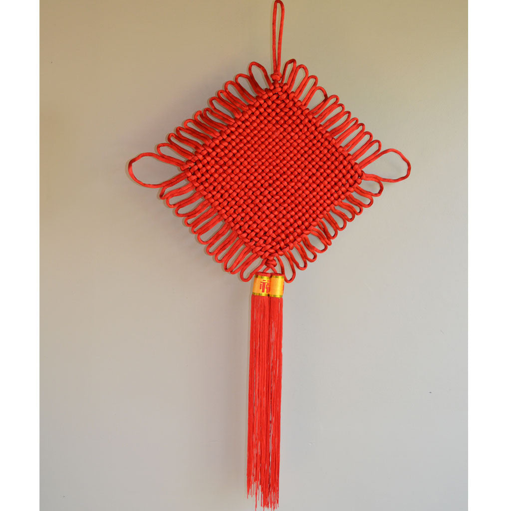 2 Pack Giant Red Chinese Knot Decorations 88cm