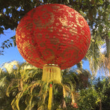 Red Giant Chinese Gold Peony Flower Lanterns (50cm) - pack 2 nylon lanterns