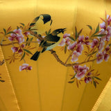 Golden Yellow Silk Lantern - Birds & Cherry blossoms