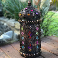 Huge Jewelled Vintage Brown Moroccan Lantern