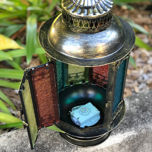 Huge Moroccan LED Lantern - old gold (17 x 36cm)
