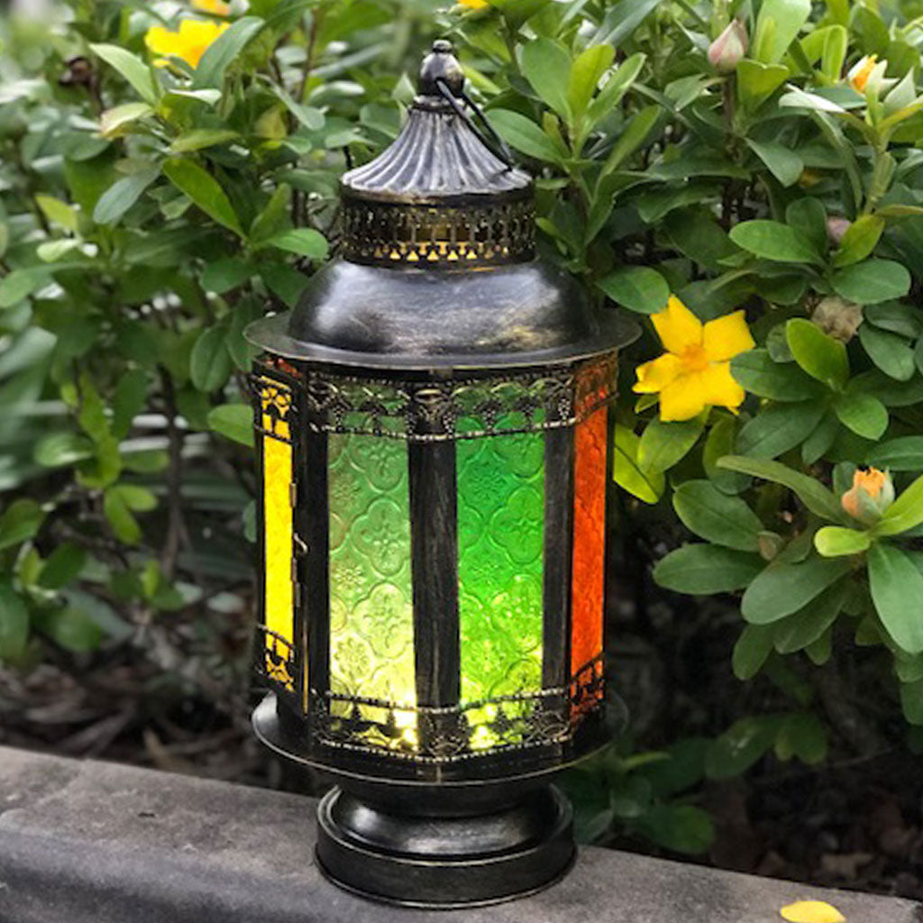 huge Moroccan LED lantern illuminated
