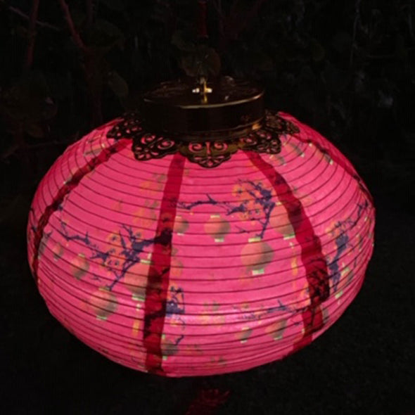 red chinese silk led lantern