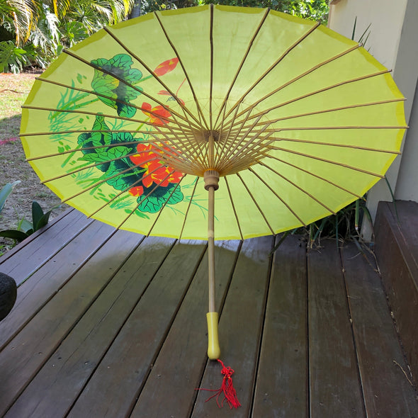 yellow dragonfly and lotus parasol