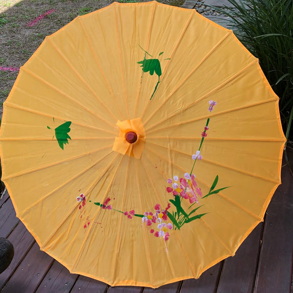 Budget hand painted nylon parasol - Chinese blossoms