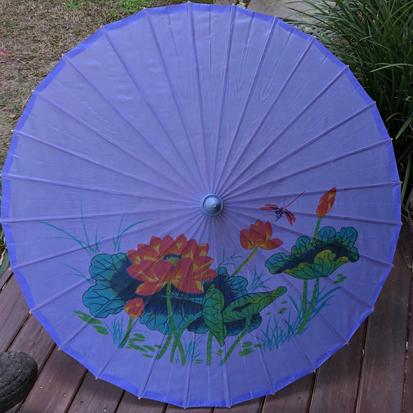 purple lotus and dragonfly parasol