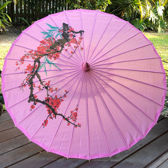 pink cherry blossom parasol