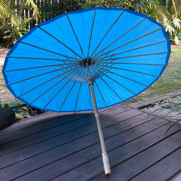 Bright Blue Wedding Paper Parasol