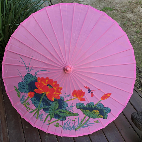 pink dragonfly and lotus parasol