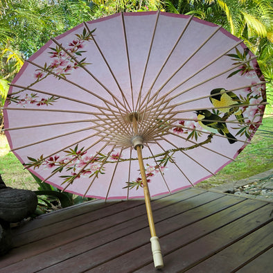 Chinese paper parasol - pink cherry blossoms and birds