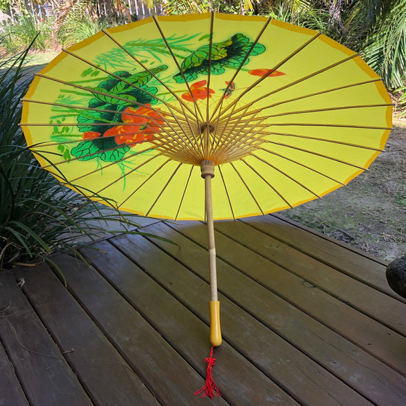 golden yellow lotus and dragonfly parasol