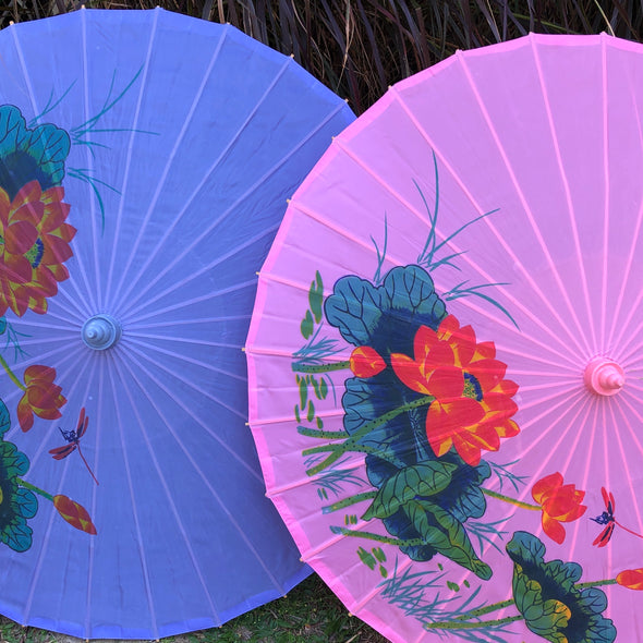 Lotus & Dragonfly nylon parasol