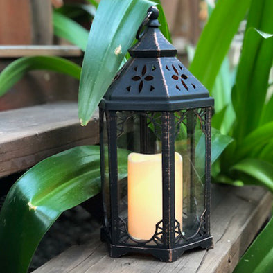 Large Hexagon Lantern with LED candle (16.5 x 33.5cm)