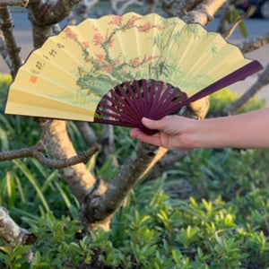 Large Luxury Bamboo Silk Fan - Cherry Blossoms (33 x 60cm)