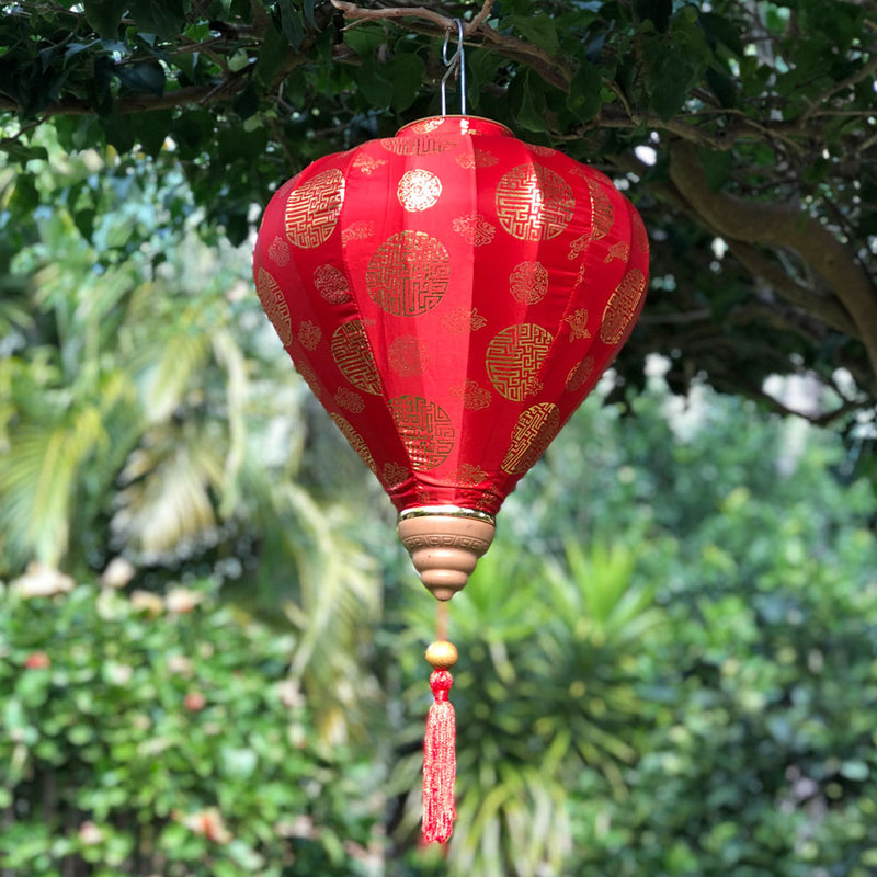 Red & Gold Silk Lantern Chinese Longevity Print