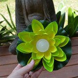 green floating lotus flower with candle