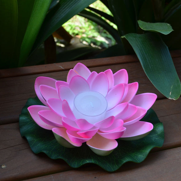 pink floating lotus flower with candle