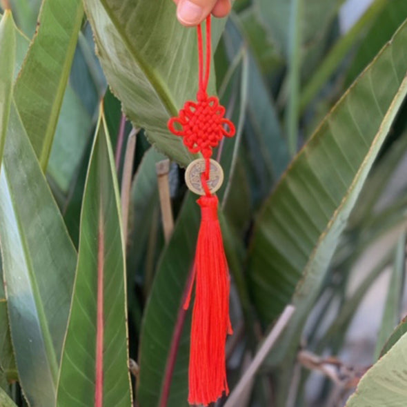 Lucky coin - red Chinese knot tassel hanging decoration