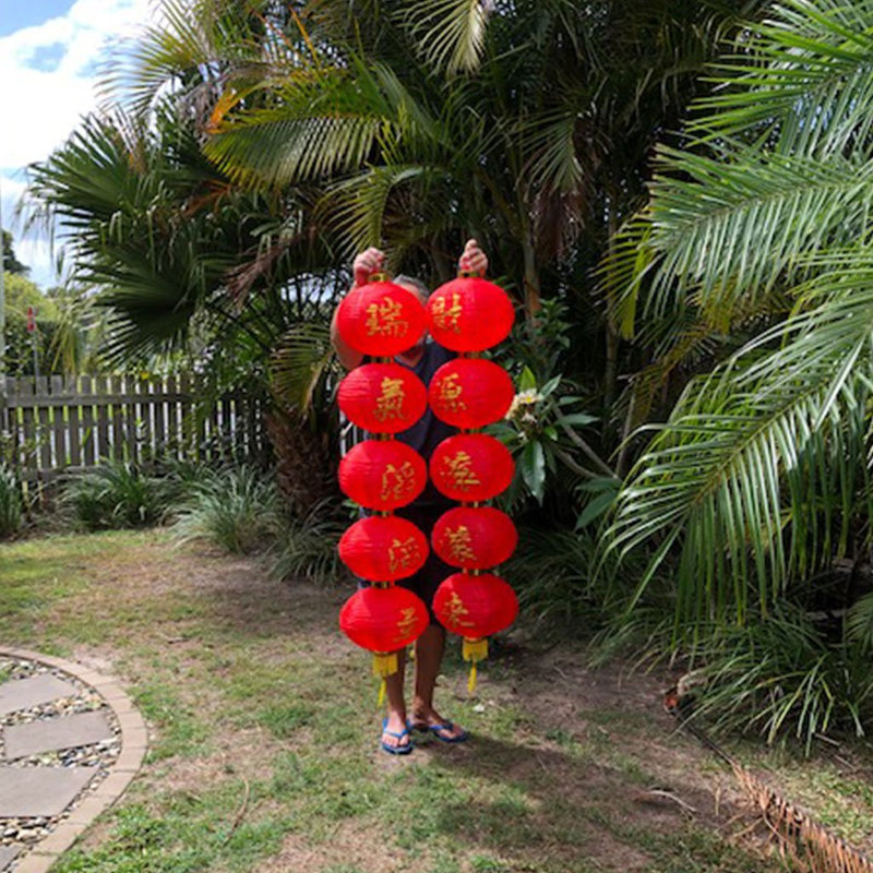 Set of 2 - HUGE Red Chinese Prosperity Column Lanterns (150cm)