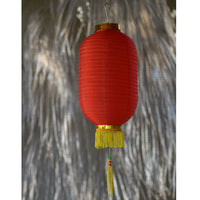 Medium Chinese Cylinder Lanterns Red / Gold 2pack