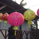 giant pink peony lantern with medium size lanterns on sides