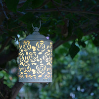 rose flower metal led lantern