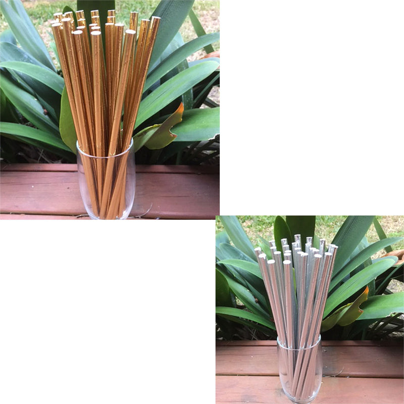 metallic gold and silver paper straws