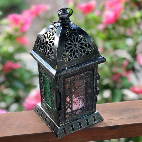 old silver/grey Moroccan LED Lantern