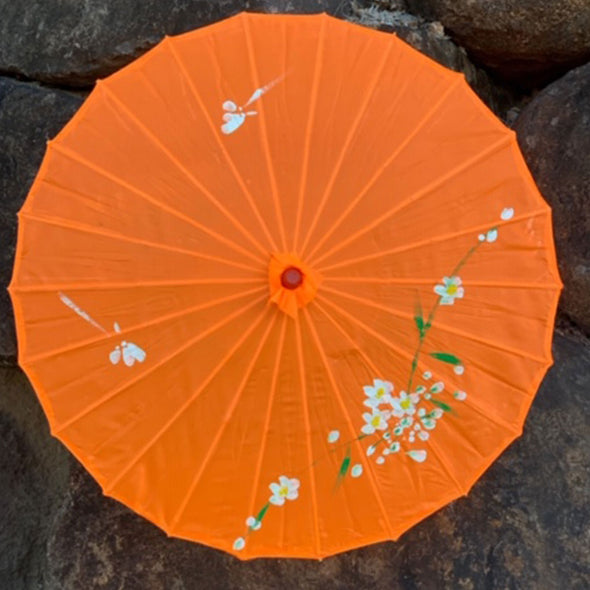 orange Chinese blossoms parasol