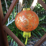 Orange - Medium Chinese Gold Peony Flower Lanterns (30cm) - pack 2 nylon lanterns