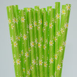Paper Straw - Daisy Flower Paper Straw - Pack Of 25