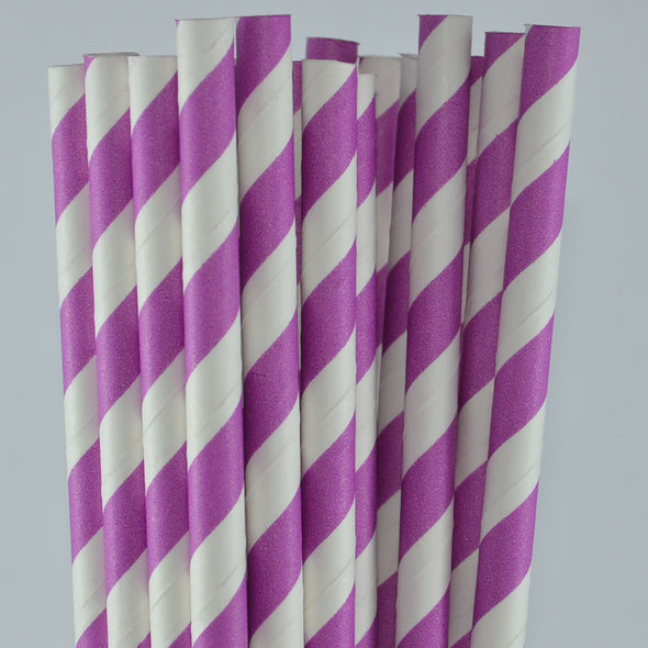 Paper Straw - Stripe Paper Straws - Pack Of 25