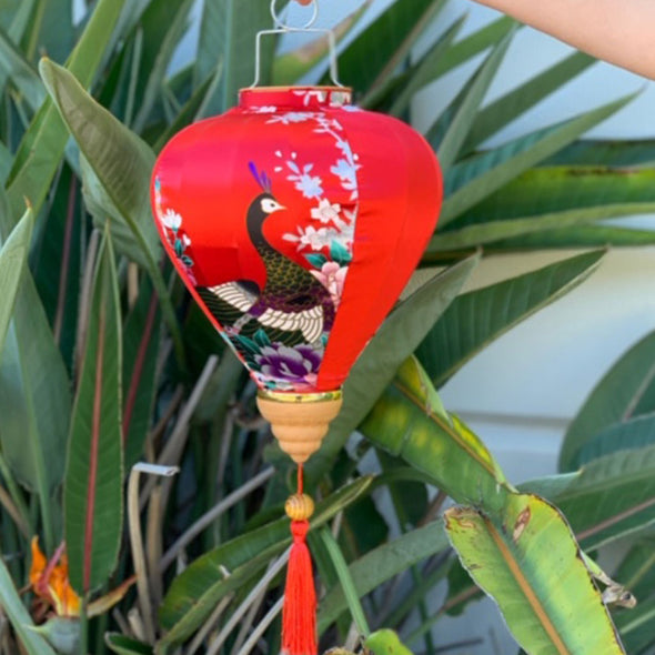 red peacock silk lantern